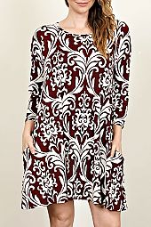 PLUS FILIGREE PRINT TRAPEZE DRESS