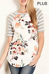 PLUS FLORAL JERSEY TOP