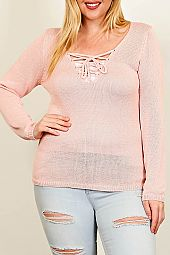 PLUS LACE UP LOW GAUGE SWEATER