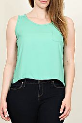 STEP HEM LACE BACK TOP