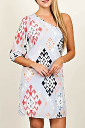 ETHNIC PRINT ONE SHOULDER DRESS