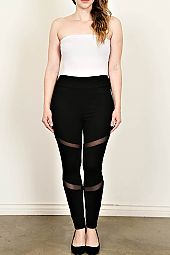 PLUS MESH TRIM LEGGINGS
