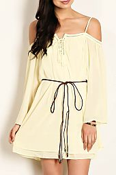 SOLID WOVEN OFF SHOULDER DRESS