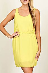 SOLID CUTOUT SURPLICE BACK DRESS