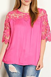 FLORAL LACE PATCH ACCENT BLOUSE