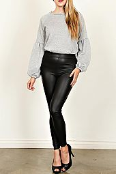 FAUX LEATHER KNIT SOLID LEGGINGS