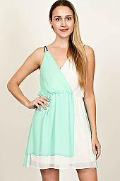 COLORBLOCK DOUBLE STRAP SURPLICE CHIFFON DRESS