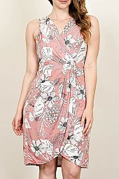 PLUS FLORAL SURPLICE DRESS