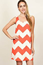CHEVRON PRINT WOVEN SHIFT DRESS