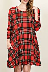 PLUS PLAID PRINT TRAPEZE DRESS