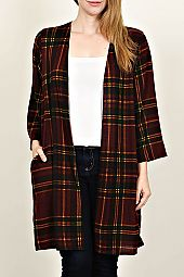 PLUS PLAID LONG CARDIGAN