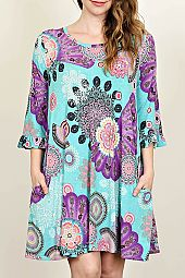 MEDALLION PRINT TRAPEZE DRESS