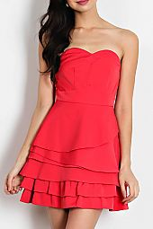 SOLID KNIT SWEETHEART NECKLINE TIERED TUBE DRESS