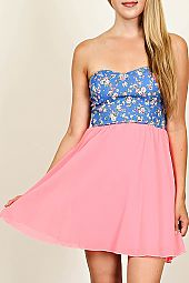 FLORAL BODICE COMBO TUBE DRESS