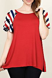 STARS AND STRIPE SLEEVES JERSEY TOP