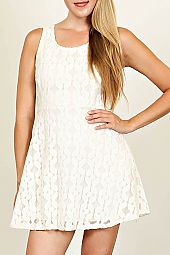 GEO FLORAL LACE OVERLAY ZIPPER BACK DRESS