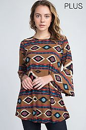 PLUS BOHEMIAN PRINT TUNIC TOP