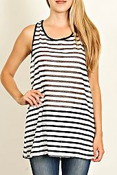 RIBBON TIE BACK STRIPED KNIT TOP