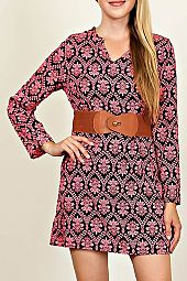 BOHO PRINT DRESS WITH BELT