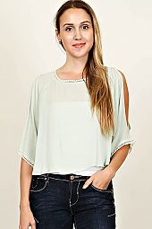 CROCHET TRIM ACCENT BLOUSE