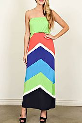 COLORBLOCK CHEVRON PRINT MAXI DRESS
