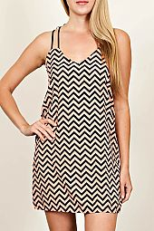 STRAPPY CHEVRON PRINT SHIFT DRESS