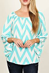 CHEVRON PRINT LONG SLEEVE BLOUSE