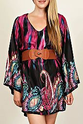 BOHO PRINT BELL SLEEVE DRESS
