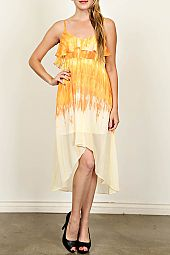 TIERED CHIFFON TIE-DYE DRESS