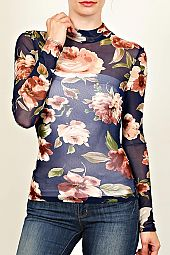 FLORAL PRINT MINI MESH KNIT TOP