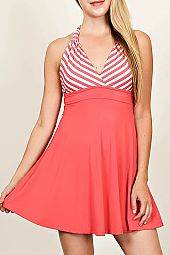 STRIPE ACCENT HIGH-WAIST COMBO DRESS