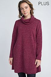 PLUS TURTLE NECK LONG SLEEVES DRESS