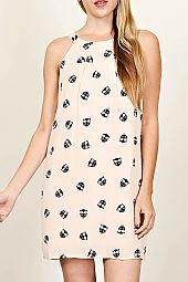 OWL PATTERN CUTOUT BACK SHIFT DRESS