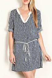 STRIPE PRINT ROLL-TAB SLEEVE WOVEN DRESS