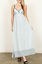 BORDER PRINT SELF-TIE BACK MAXI DRESS
