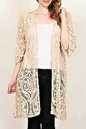 PLUS FILIGREE PATTERN SHEER CARDIGAN