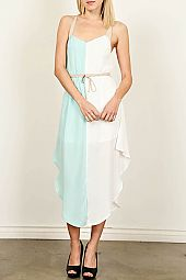 SLIT HEM COLORBLOCK DRESS