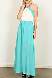 COLORBLCOK CHAIN NACKLACE HALTER MAXI DRESS