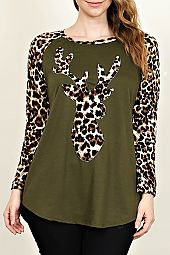 PLUS ANIMAL REINDEER PRINT TOP