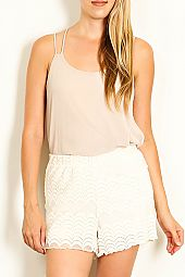 SCALLOP LACE OVERLAY KNIT SHORTS