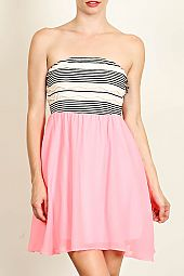 STRIPE PRINT CONTRAST TUBE DRESS