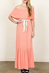 OFF-SHOULDER GAUZE MAXI DRESS
