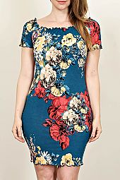 FLORAL PRINT BODYCON DRESS