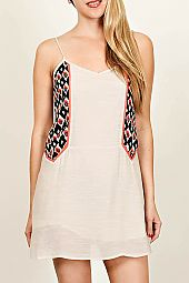 IKAT PRINT CONTRAST CUTOUT BACK DRESS