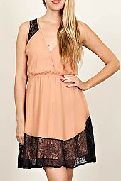 SOLID LACE CUTOUT BACK V-NECK DRESS