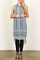 ETHNIC PRINT SLEEVELESS CHIFFON TOP