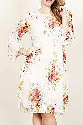 PLUS ROSE PRINT SHEER DRESS