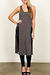 SOLID SPLIT SIDE RIBBED KNIT TUNIC