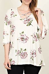 PLUS CRISSCROSS STRAP FLORAL TOP