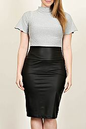 PLUS LEATHER MIDI SKIRT